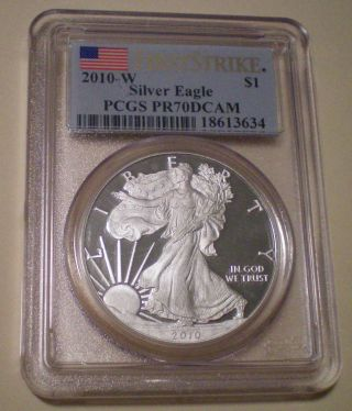 2010 - W Proof Silver Eagle Pcgs Pr70dcam Has Numerous Small Spots Around Liberty photo