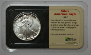 1987 American Silver Eagle Dollar 1 Oz Fine Silver photo