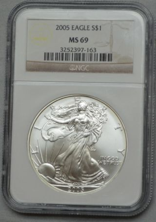 2005 American Silver Eagle Dollar 1 Oz Fine Silver Ms 69 Ngc photo