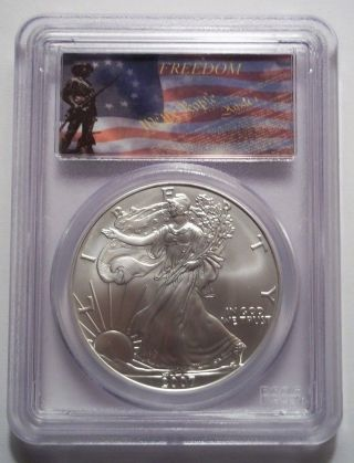 2007 Silver American Eagle Dollar Bullion Pcgs Ms70 Freedom Flag Label Rare photo