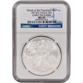 2013 - (s) American Silver Eagle - Ngc Ms69 - Early Releases photo