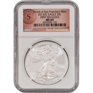2013 - (s) American Silver Eagle - Ngc Ms69 - First Releases - Sf Logo Label photo