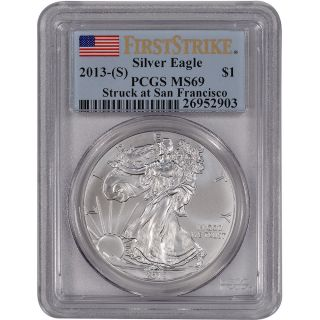 2013 - (s) American Silver Eagle - Pcgs Ms69 - First Strike photo