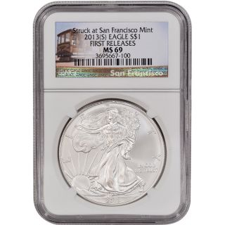 2013 - (s) American Silver Eagle - Ngc Ms69 - First Releases - Trolley Label photo