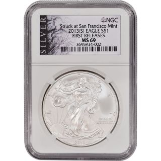 2013 - (s) American Silver Eagle - Ngc Ms69 - First Releases - Silver Label photo