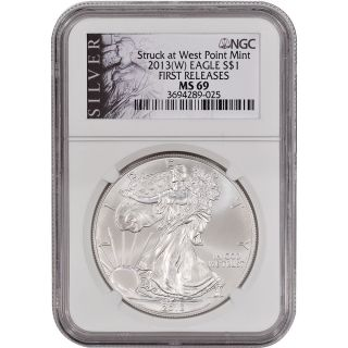 2013 - (w) American Silver Eagle - Ngc Ms69 - First Releases - Silver Label photo