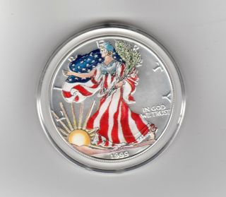 Coin,  American Eagle Silver Dollar 1999 With Case Painted Encased photo
