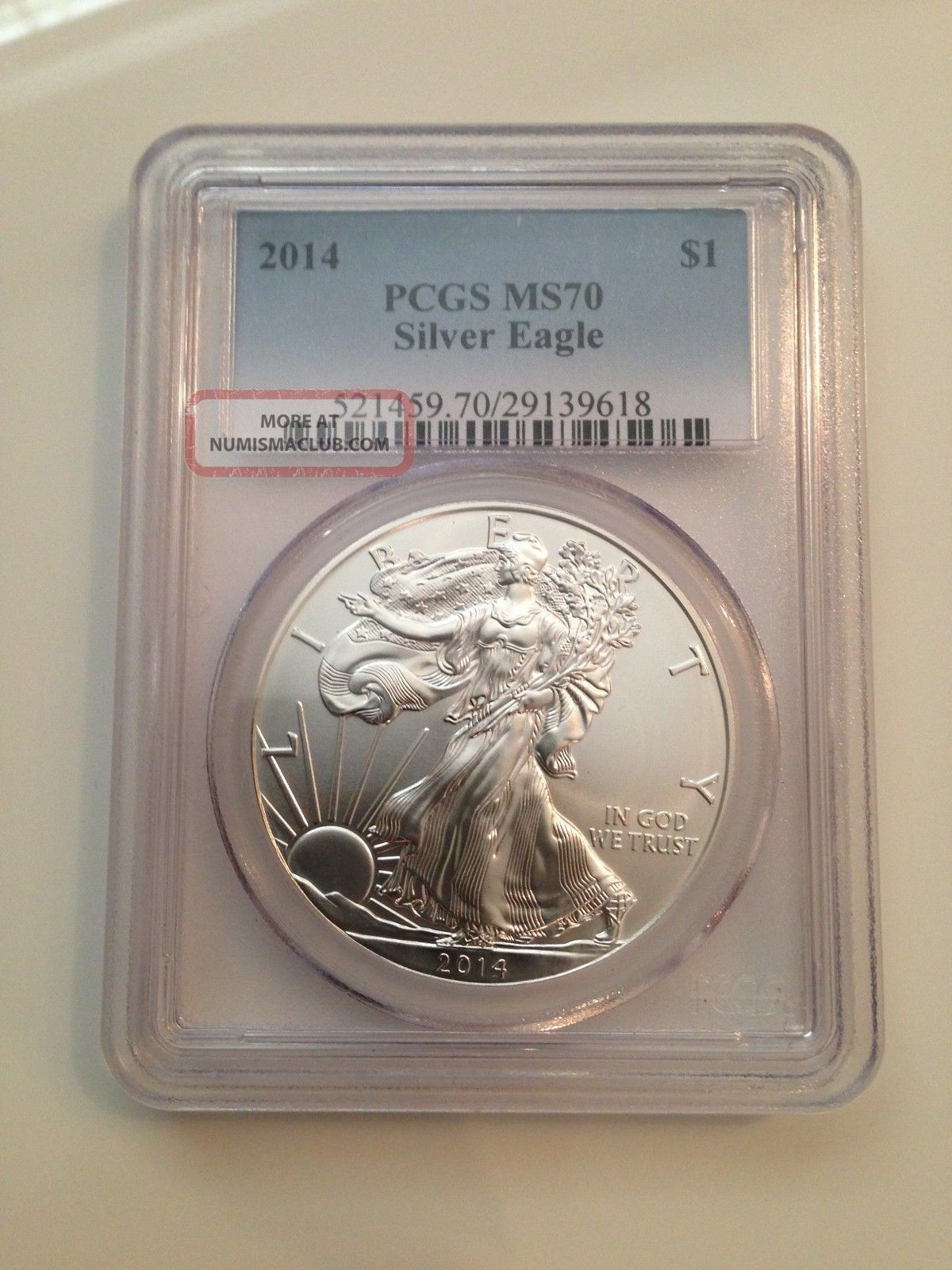 2014 Pcgs Ms - 70 American Eagle Graded Perfect Fresh Slab $1 Silver Eagle Gem Silver photo