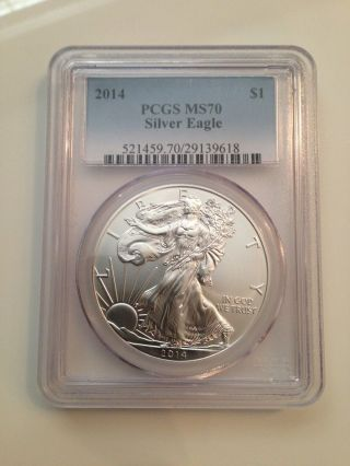 2014 Pcgs Ms - 70 American Eagle Graded Perfect Fresh Slab $1 Silver Eagle Gem photo