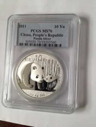 2011 Chinese Silver Panda Perfect Pcgs Ms70 10 Yuan.  999 Silver Bullion photo