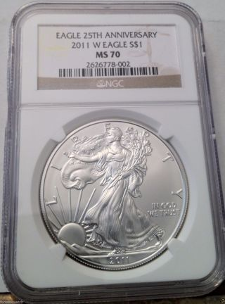 2011 - W Burnished Silver American Eagle Ngc Ms70 25th Anniversary 1oz Silver. photo