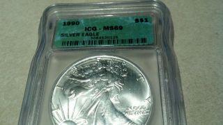 1990 $1 Isg Ms69 Silver American Eagle Coin photo