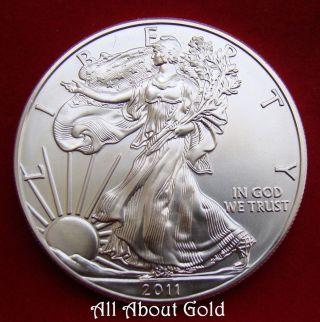 Silver Coin 1 Troy Oz 2011 American Eagle Walking Lady Liberty.  999 Fine Bu photo