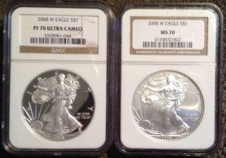 2008 - W Silver Eagle - Ngc Pf70 Ultra Cameo / 2008 W Silver Eagle - Ngc Ms70 photo