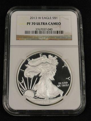 2013 W American Silver Eagle Ngc Pf 70 Ultra Cameo 7 - 040 photo