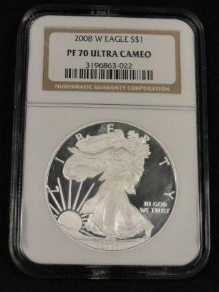 2008 W American Silver Eagle Ngc Pf 70 Ultra Cameo 3 - 022 photo