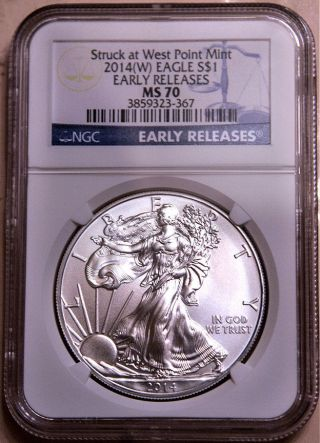 2014 (w) Silver Eagle Struck At West Point E.  R.  Ngc Ms70 (blue Label) photo