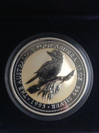 10 Oz Silver Australian Kookaburra $10.  999 Coin 1995 In Case Bullion Bar photo