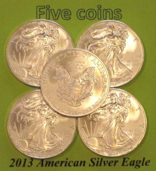 2013 American Silver Eagle 1 Oz.  999 Silver Uncirculated 5 Coin photo
