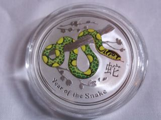 1 Oz Australian Silver Year Of The Snake Colorized Coin.  999 Fine Silver photo