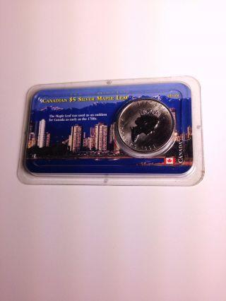 1999 1 Oz $5 Silver Canadian Maple Leaf (brilliant Uncirculated) photo