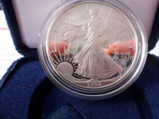 1994 P Proof Silver Eagle 372,  168 Mintage W/c.  O.  A.  & Box ' A Must Have Coin photo