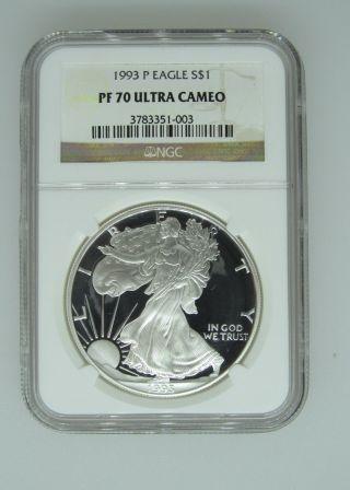 1993 P $1 Ngc Pf70 Ucameo (proof Silver Eagle) - Pf70 Rare.  999 Silver Bullion photo