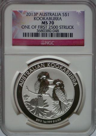Ngc Registry 2013 P Australia Silver Kookaburra $1 Ms70 1st 2500 Perfect Bu Coin photo