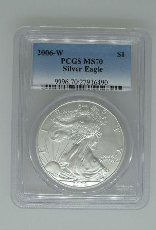 2006 - W - Pcgs Ms70 - Uncirculated Silver Eagle - 1 Ozt.  999 - Burnished - $1 photo