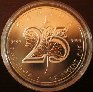 2013 - Canada 25 Anniversary.  999 Silver Maple Leaf.  Limited Mintage photo