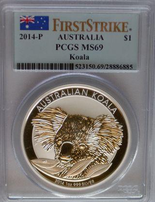 Pcgs 2014 P First Strike Australia Koala Dollar $1 Ms69 Coin Silver 1oz Perth Ag photo