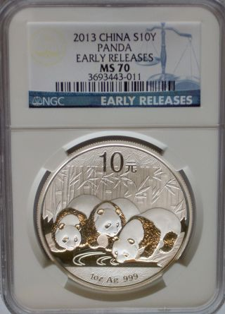 Ngc Registry 2013 China Panda 1 Oz Silver 10 ¥ Yuan Coin Ms70 Early Releases Prc photo