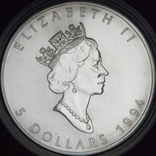 1994 1 Ounce Canadian 9999 Silver Maple Leaf In Display Case - photo