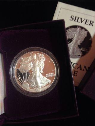 1987 1 Oz Proof Silver American Eagle (w/box &) photo