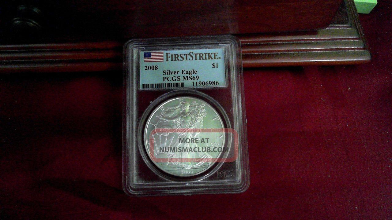 2008 1oz American Silver Eagle Ms69 First Strike Silver photo
