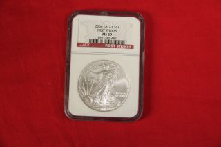 Near Perfect 2006 First Strikes Silver Eagle Ngc Graded As Ms69 69 Uncirculated photo