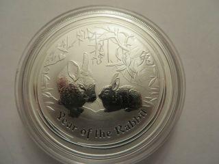 2011 Australian 1 Oz Silver,  Year Of The Rabbit,  Perth, .  999 Fine,  Unc. photo