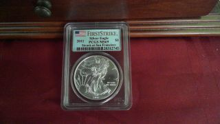 2011 Ms69 American Silver Eagle Round 1 Oz.  Fine Silver Pcgs San Francisco photo