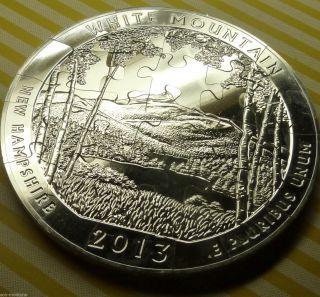 2013 White Mountain Atb 5 Oz Silver Coin Cut Up Into A 25 Piece Jigsaw Puzzle photo
