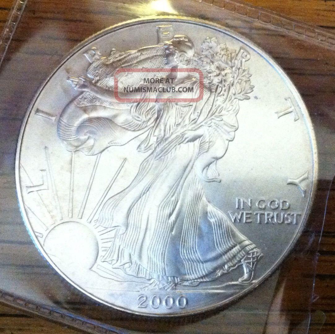 2000.  1oz.  999 Fine Silver Liberty Walking American Silver Eagle Dollar Coin Unc Silver photo