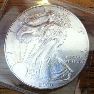 2000.  1oz.  999 Fine Silver Liberty Walking American Silver Eagle Dollar Coin Unc photo