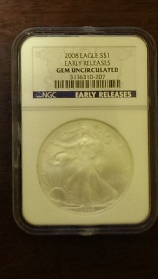 2008.  999 Fine Silver American Eagle (ngc) Gem Uncirculated photo