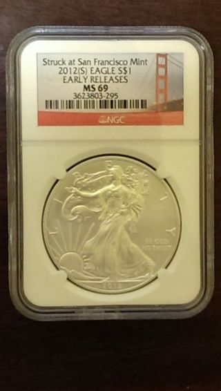 2012 (s).  999 Fine Silver American Eagle (ngc) Ms - 69 photo