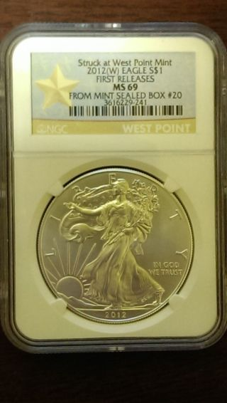 2012 (w).  999 Fine Silver American Eagle (ngc) Ms - 69 (gold Star Seal) photo