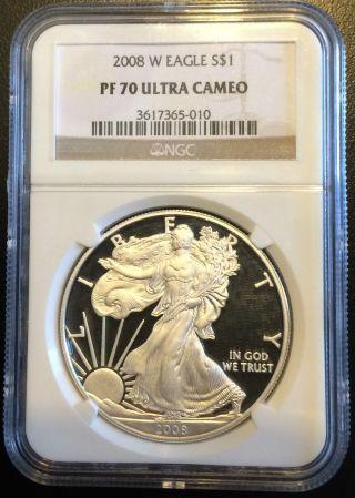 2008 W Silver Eagle $1 Ngc Pf70 Ultra Cameo 1 Oz Ounce Flawless photo