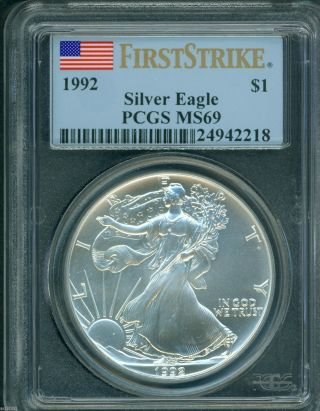 1992 American Silver Eagle Ase S$1 Pcgs Ms69 Ms - 69 First Strike Fs photo