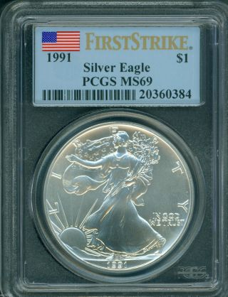 1991 American Silver Eagle Ase S$1 Pcgs Ms69 Near Perfect First Strike Fs photo