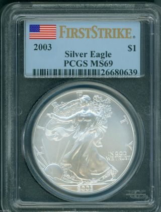 2003 American Silver Eagle Ase S$1 Pcgs Ms69 Ms - 69 First Strike Fs photo