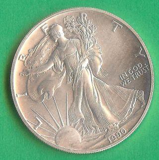 Collector Choice 1990 Usa Fine 1 Silver Dollar Coin Eagle Unc photo
