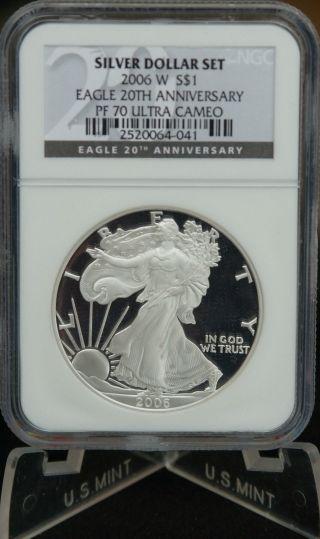 2006 W 20th Anniversary Pr70 Silver Eagle Dollar $1 Proof Ngc Pf 70 Ultra Cameo photo